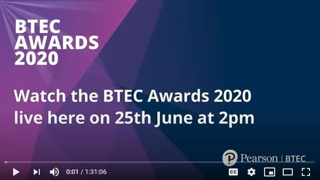 Pearson unveils 2020 BTEC award winners in its first ever online awards ceremony