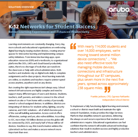 Networks for Student Success - Better Learning Experiences and Enhanced Productivity