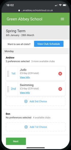SchoolCloud Clubs & Events