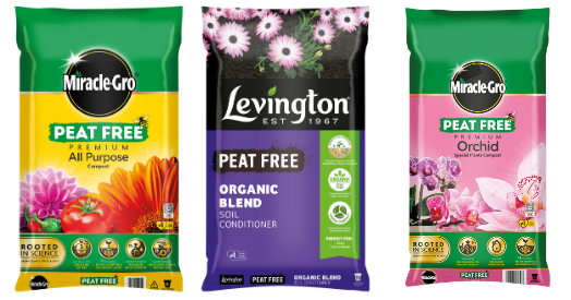 peat free range miracle-gro and levington