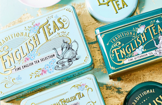 turquoise tins with writing on them new english teas
