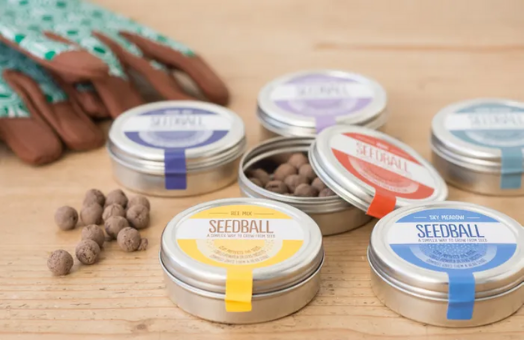 tins of seeds with coloured labels seedball