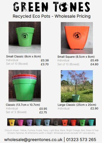 Green Tones Glee Price Sheet - Eco Pots