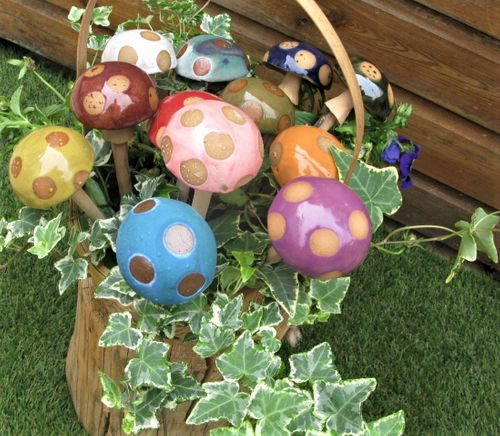 Handcrafted Stoneware Toadstools