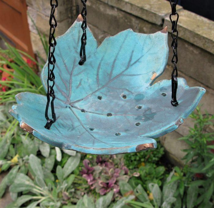 Handcrafted Stoneware Leaf Art Hanging Bird Feeder or Bird Bath