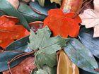 Handmade Stoneware Leaf Art Hanging Leaves