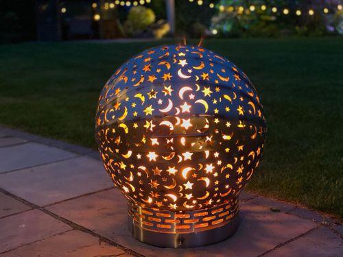 **NEW* Large FirePit Moon & Stars Globe Fire Ball Fire Pit