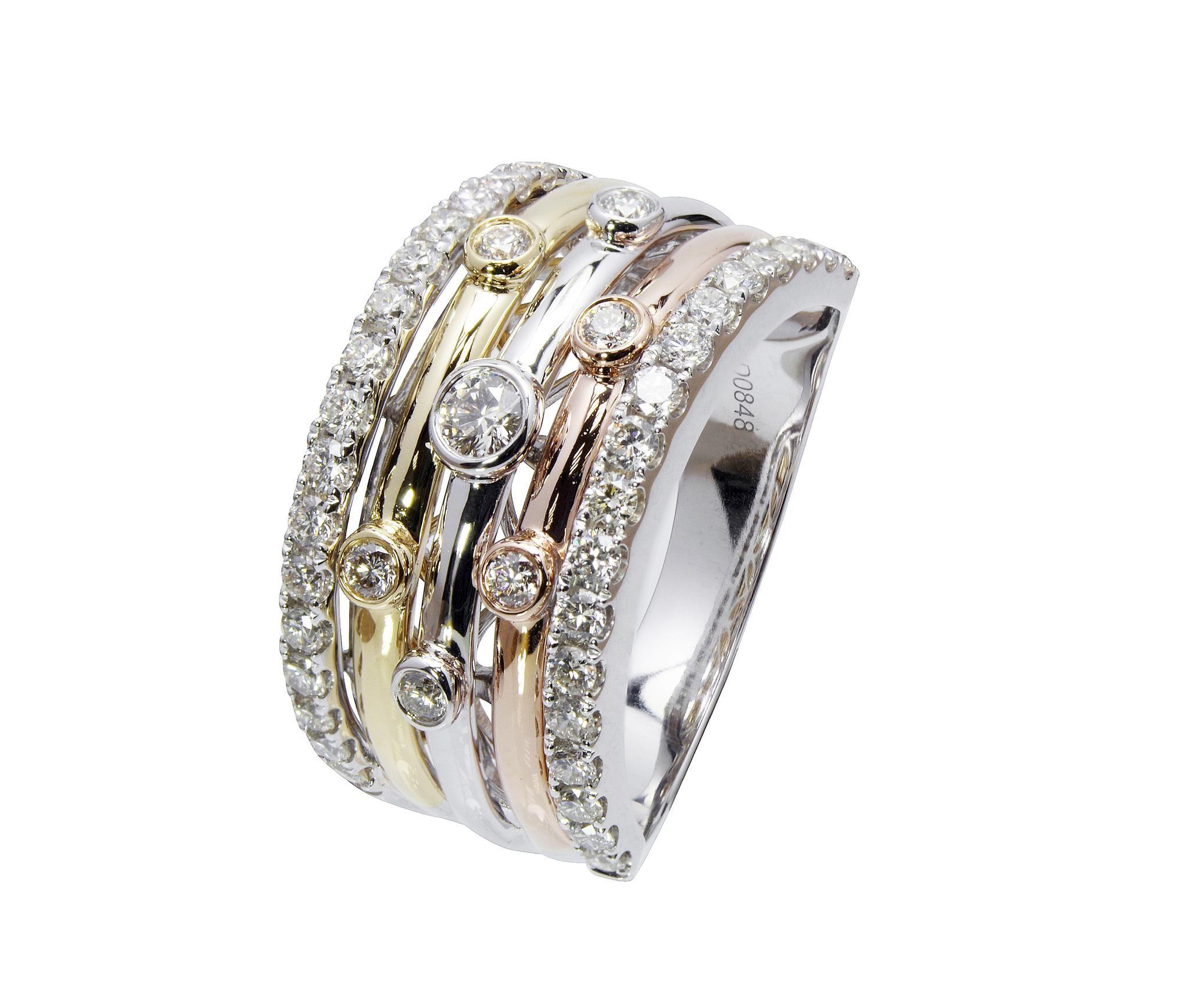 Three Colour Diamond Ring