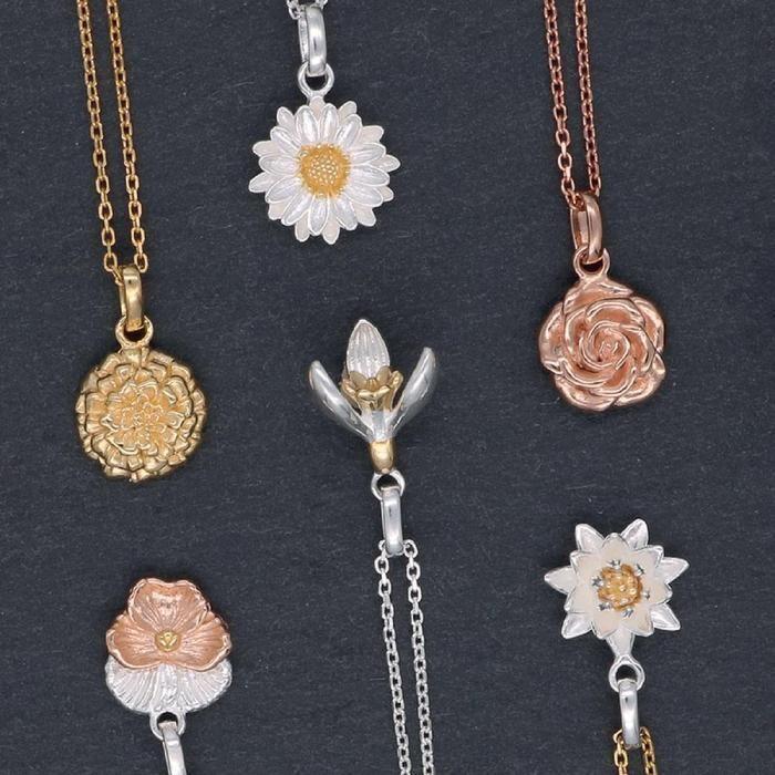 Stirling Silver Birth Flower Pendants