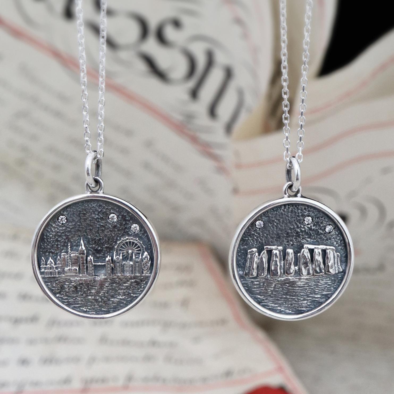 Sterling Silver Stonehenge and London Skyline Pendants