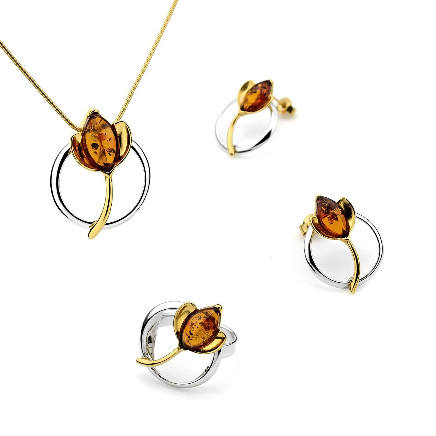 Sterling Silver, Gold Plated and Baltic AmberTulip Set