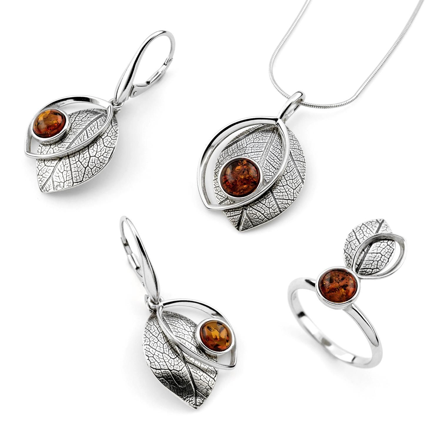 Sterling Silver and Baltic Amber Leaf Set