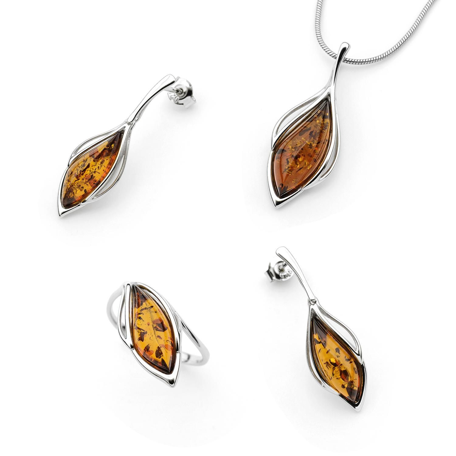 Sterling Silver and Amber Set