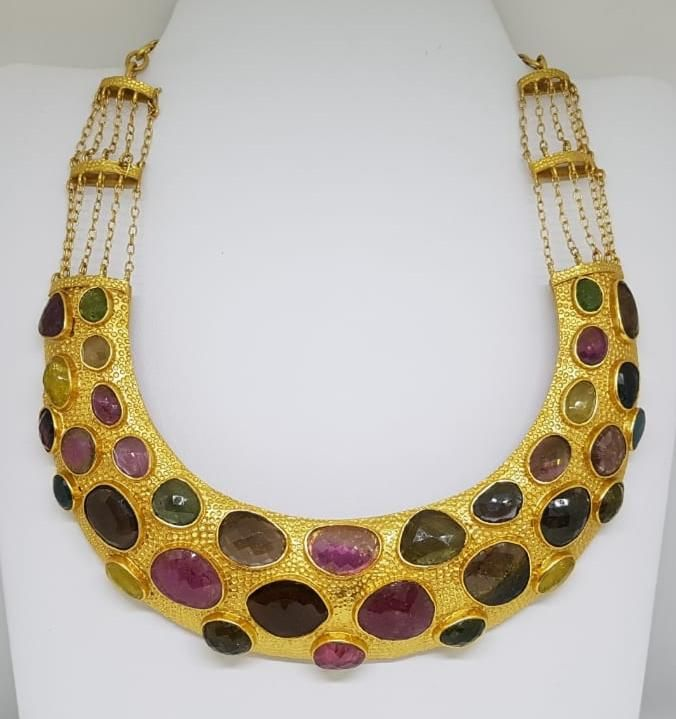 Silver gold plated multi tourmaline necklace