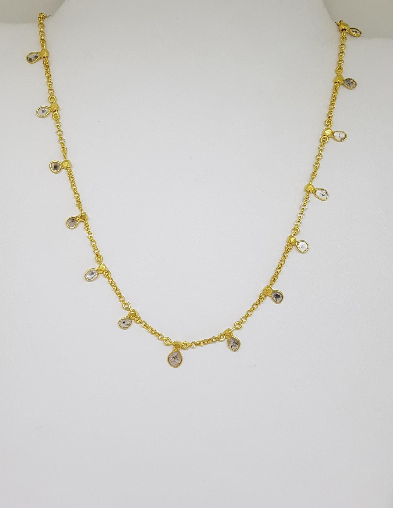 Silver gold plated  diamond necklace