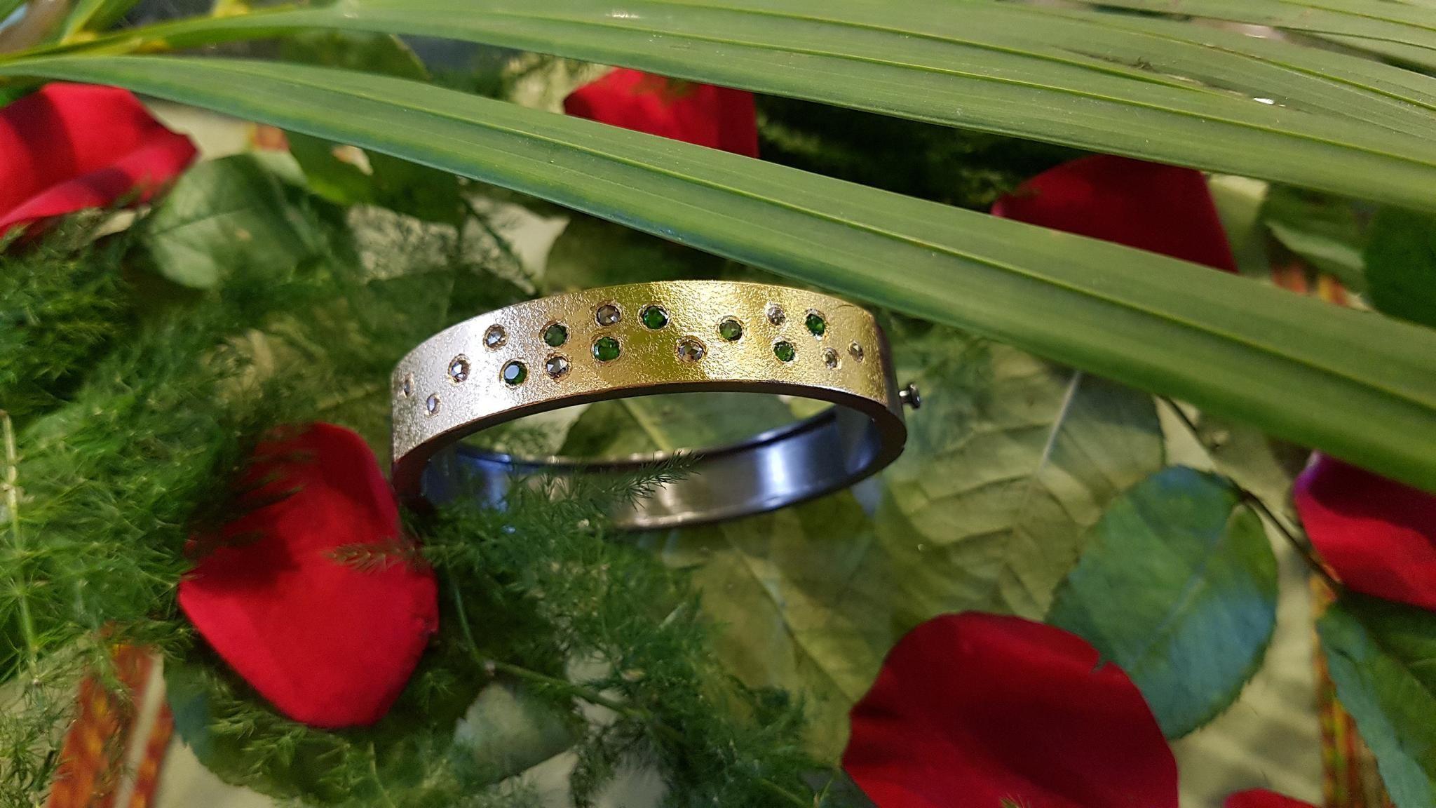 Silver black and gold rhodium diamond and tourmaline bangle