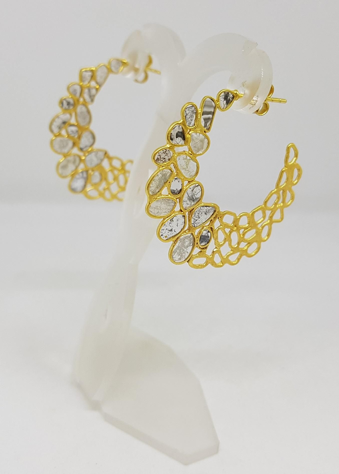 Silver handcrafted gold plated diamond hoop earring