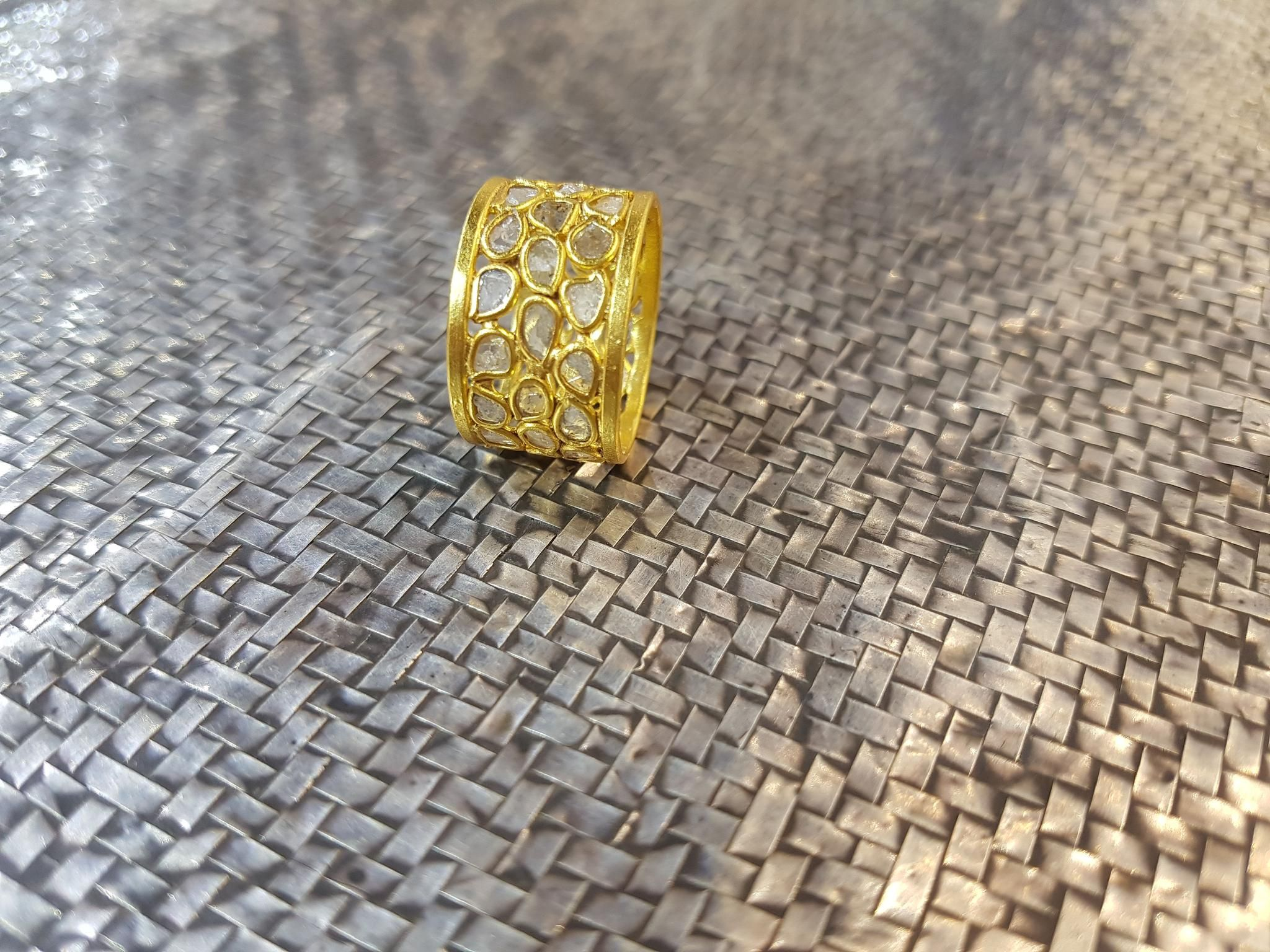 92.5% Sterling silver diamond slice gold plated trendy ring