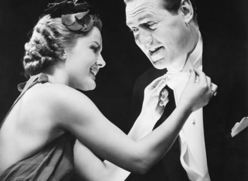 Hollywood era men's fashion black and white photograph