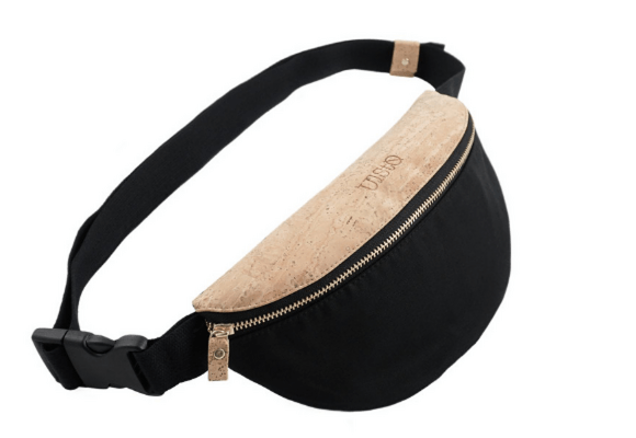 Ulsto bum bag made of cork and black material