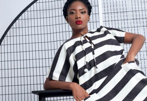 Black and white striped dress Cotton Loops collection