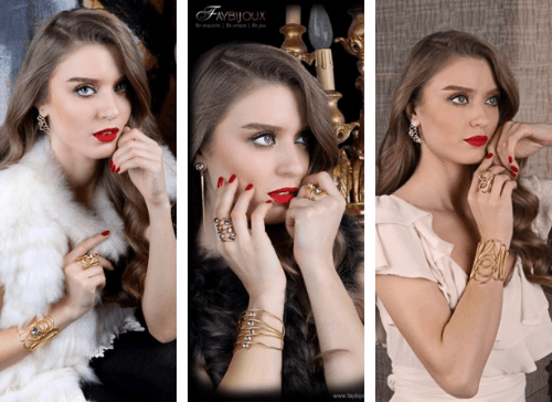 Three images of a woman wearing jewellery