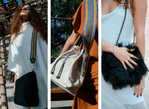 A collage of women wearing Sideral bags