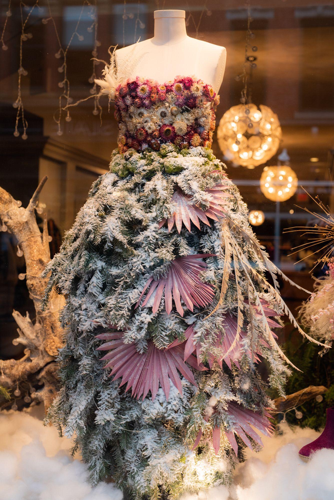 Stella Mae Christmas window dress snow