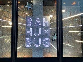 bah humbug christmas window  silver lights