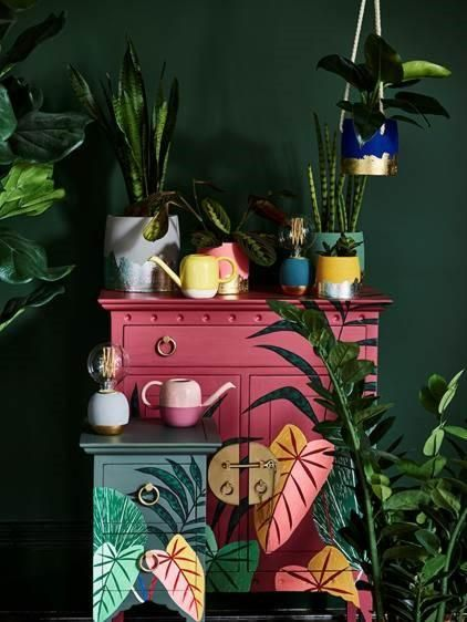 foliage painted cupboards