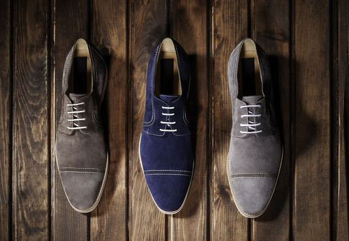 Blue, Brown and Gray Suede Shoes