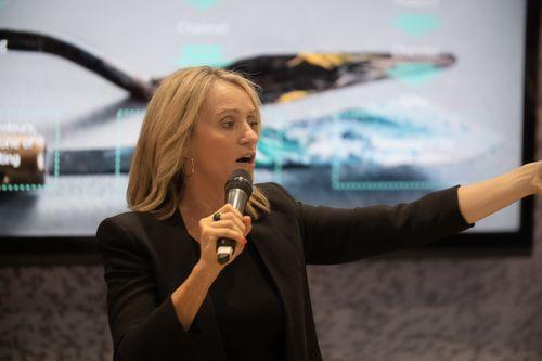 Female Speaker Pointing