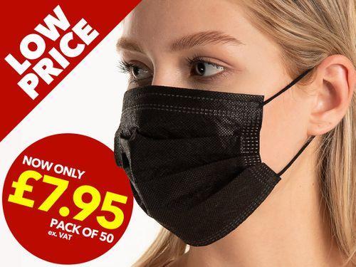 3 Ply Black Face Masks