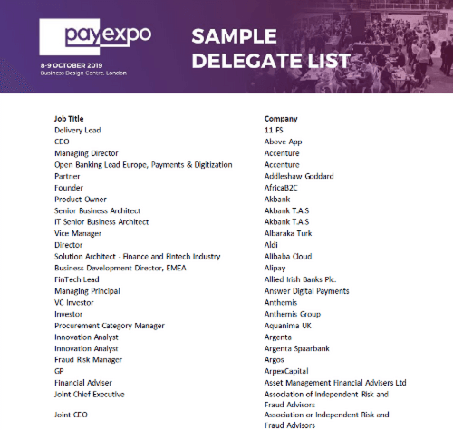 PayExpo sample delegate list