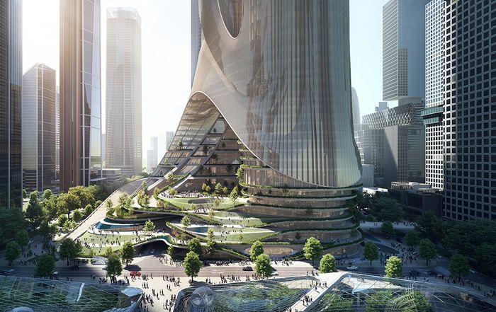 """扎哈事务所新作""""深圳湾超级总部基地'C塔'"""":多维垂直城市"""