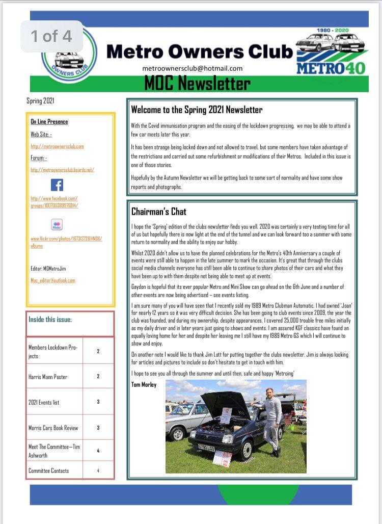 Club Spring Newsletter
