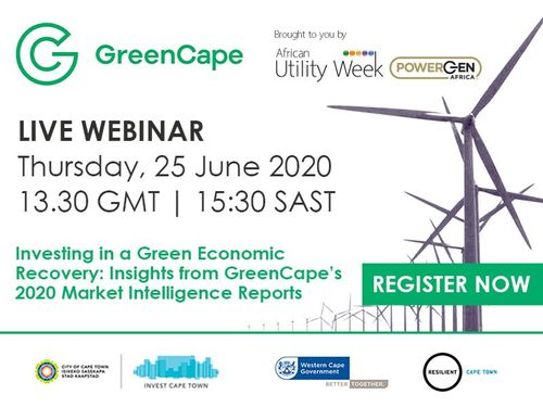 GreenCape joins forces with African Utility Week on latest reports on green economy investment opportunities
