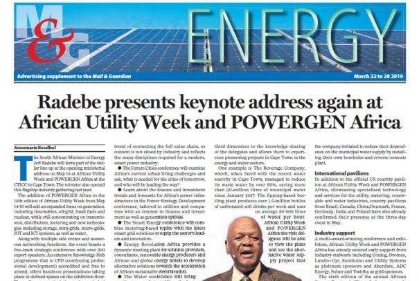 African Utility Week and POWERGEN Africa announces media partnership with The Mail & Guardian