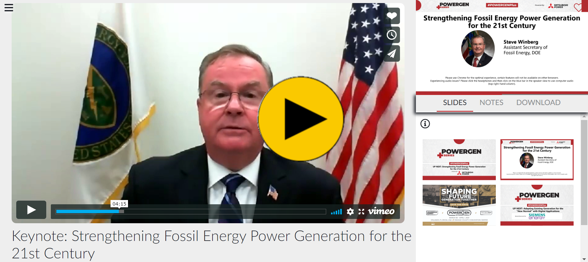POWERGEN+ - Keynote: Strengthening Fossil Energy Power Generation for the 21st Century
