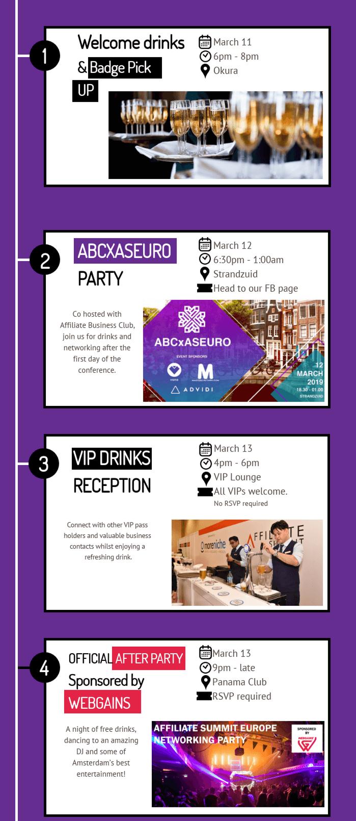 parties timeline