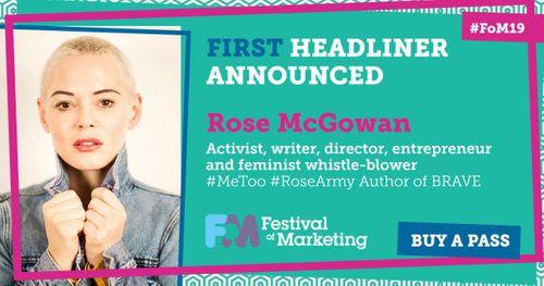 Rose McGowan headlines Festival of Marketing 2019