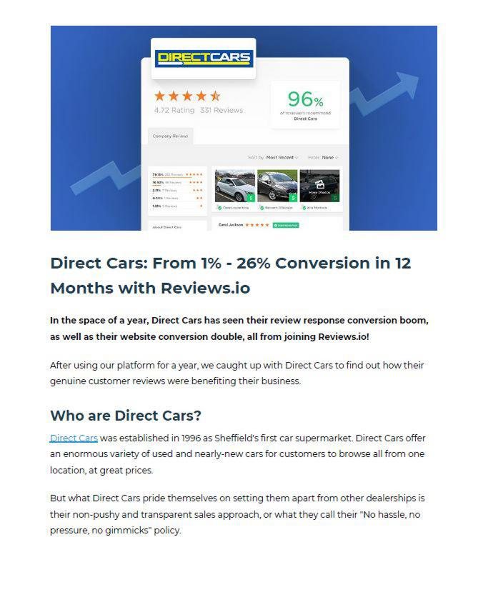 Direct Cars: From 1% - 26% Conversion in 12 Months with Reviews.io