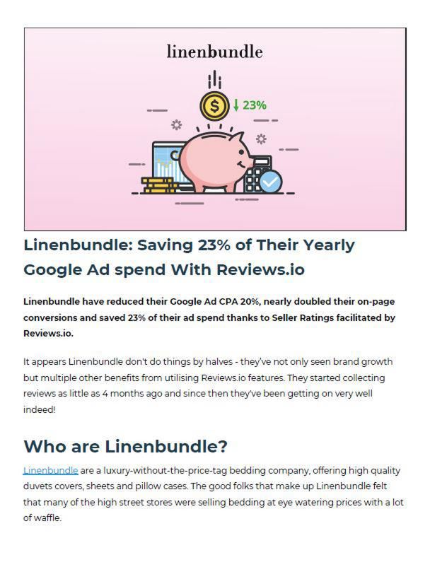 Linenbundle: Saving 23% of Their Yearly Google Ad spend With Reviews.io