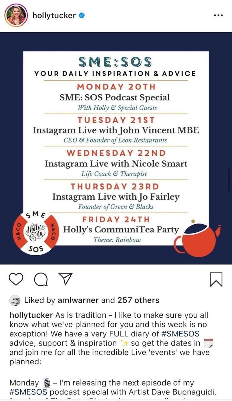 Instagram Live Holly Tucker Promo