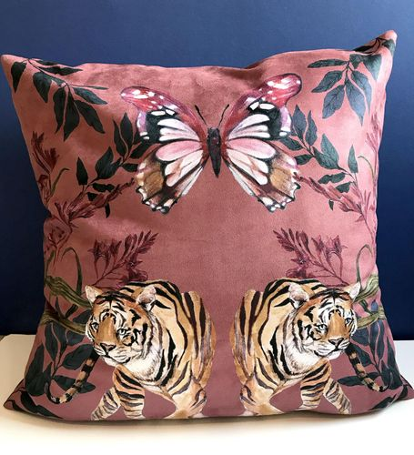 Watercolour hand painted Tigra Cushion in Vegan Suede 60x60cm