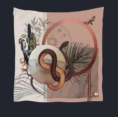 Alice Acreman silks 'Nevada Silk' is Hand-illustrated, square Silk Scarf from the Mirage Collection.