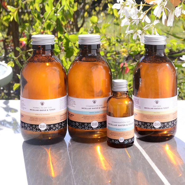 Herbal Blend Micellar Water &b Toner for combination skin. Glass, not plastic.
