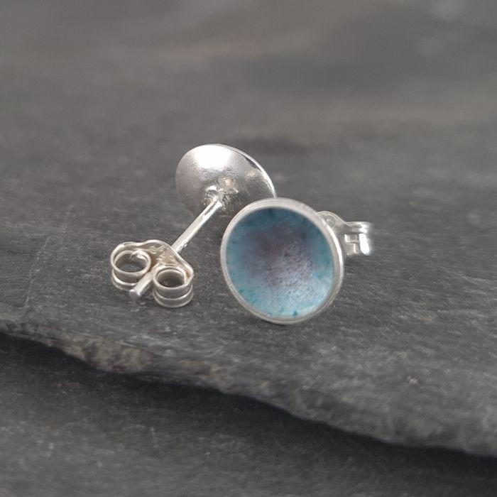 Enamelled Sterling Silver Stud Earrings, Colourful Earrings in Vitreous Enamel