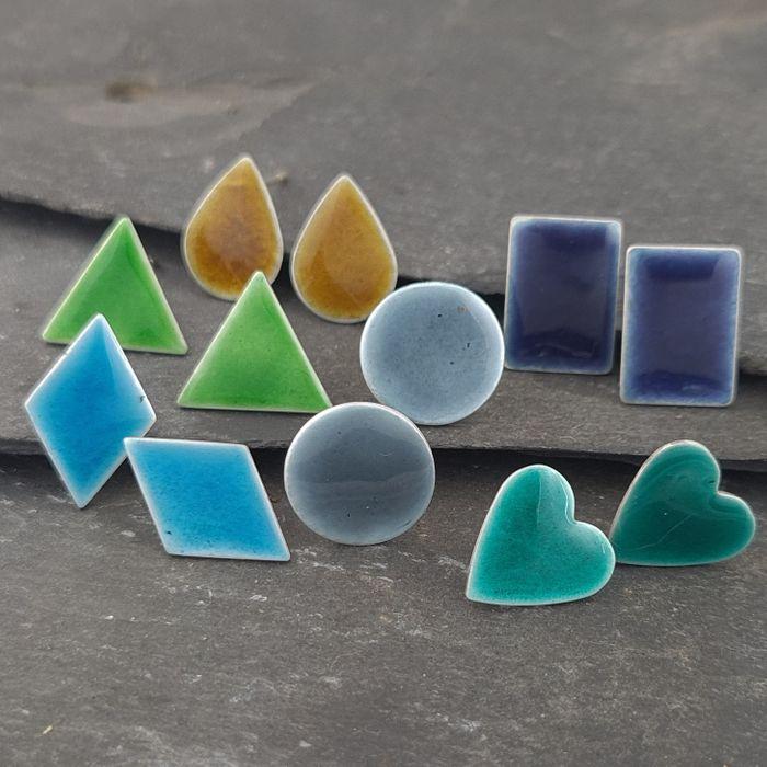 Colourful Geometric Stud Earrings in sterling Silver with Vitreous Enamel