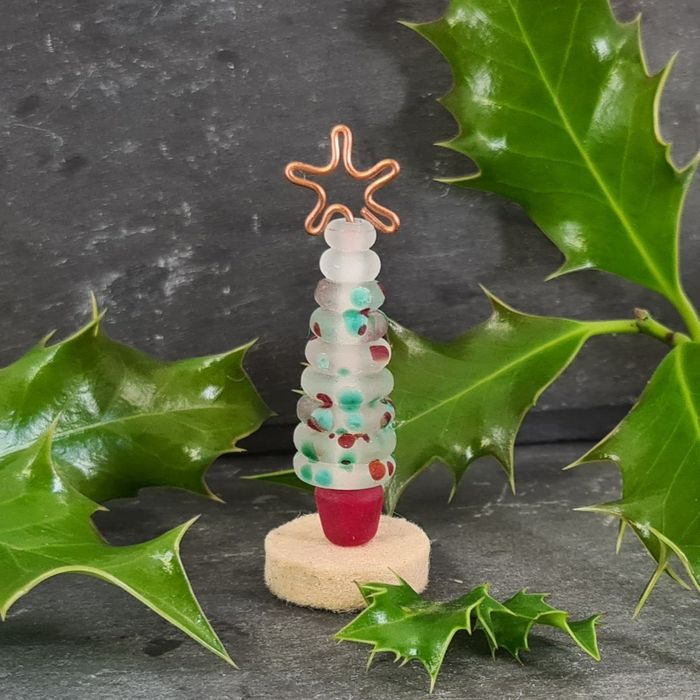 Glass Christmas Tree Ornament - Frosted Red and Green Speckle